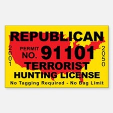 Republican Terrorist Hunting License Decal