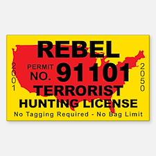 Rebel Terrorist Hunting License Decal