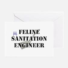 Feline Sanitation Engineer Greeting Cards (Pk of 1