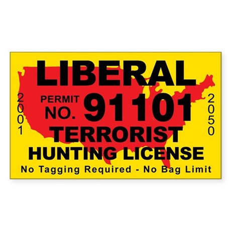 Liberal Terrorist Hunting License Sticker