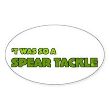 Irish Rugby Spear Tackle Humor Oval Decal