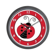 Red & Black Ladybug Wall Clock