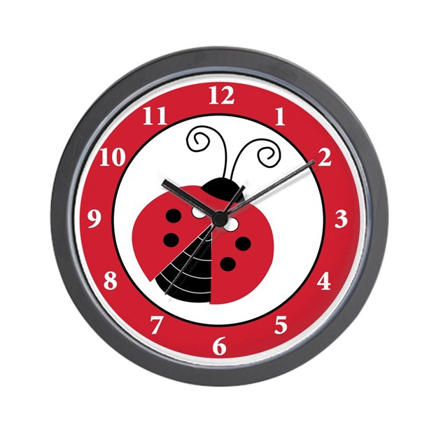 Red black ladybug wall clock by artbyjessie for Red and black wall clock