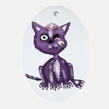 Purple Zombie Cat Ornament (Oval)