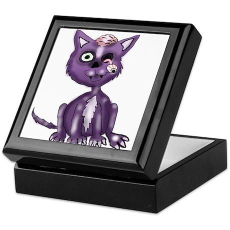 Purple Zombie Cat Keepsake Box