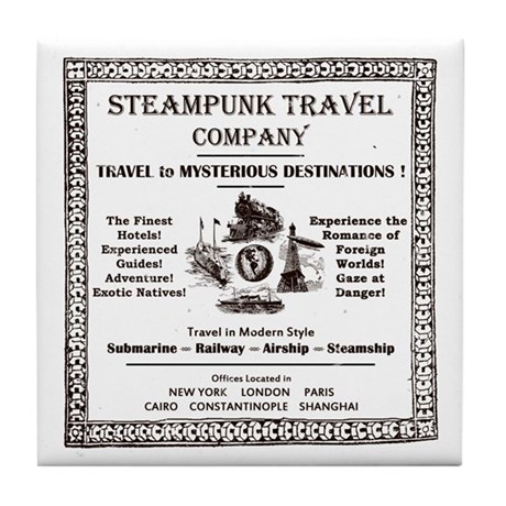 Steampunk Travel Tile Coaster