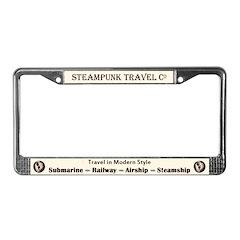 Steampunk Travel License Plate Frame