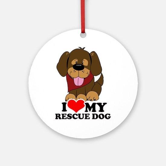 I love my Rescue Dog Ornament (Round)