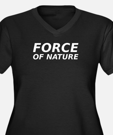 Force of Nature Women's Plus Size V-Neck Dark T-Sh