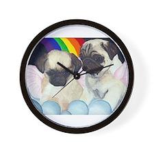 Pug Angels Wall Clock