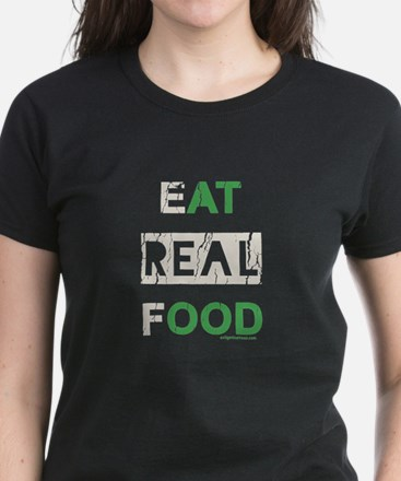 Eat real food distressed Women's Dark T-Shirt