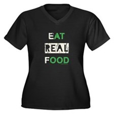 Eat real food distressed Women's Plus Size V-Neck