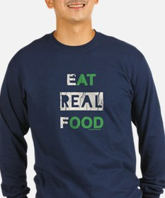 Eat real food distressed T