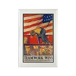 Teamwork Wins Poster Art Rectangle Magnet