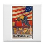 Teamwork Wins Poster Art Tile Coaster