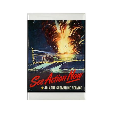 Submarine Service Poster Art Rectangle Magnet (10