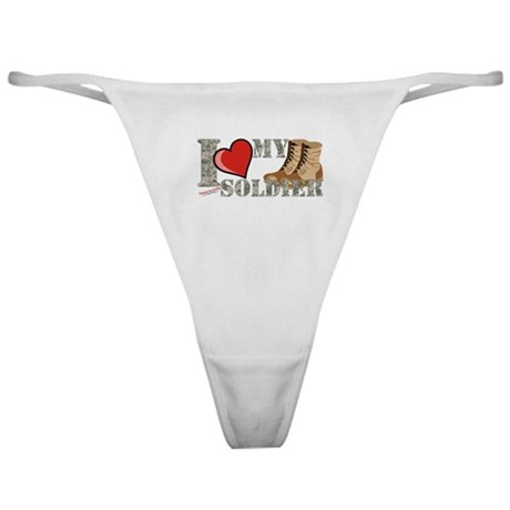 I love my soldier logo 2 Classic Thong