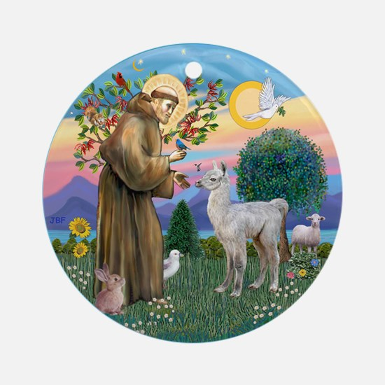 St Francis and Baby Llama Ornament (Round)