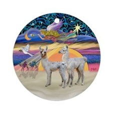 Xmas Star - Two Baby Llamas Ornament (Round)