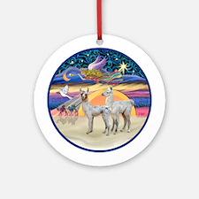 Xmas Star - Two Baby Llamas Ornament (Round)