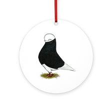 Tumbler Pigeon Black Bald Ornament (Round)
