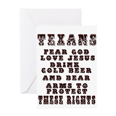 Texans Right to Bare Arms Greeting Card