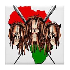 African Warrior Skulls Tile Coaster