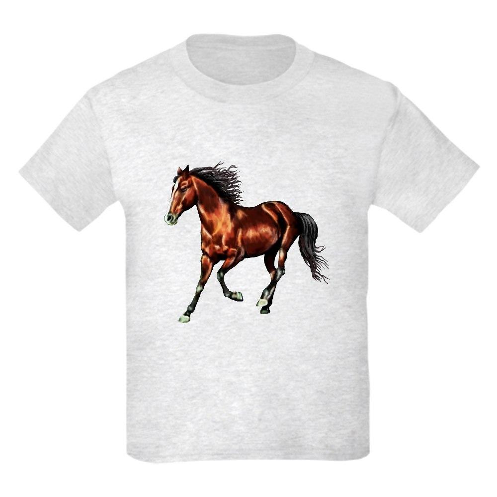 CafePress Cantering Bay Horse Kids Light T-Shirt