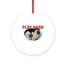 PLAY HARD soccerball Ornament (Round)