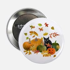 "Black Cat Pumpkins 2.25"" Button"