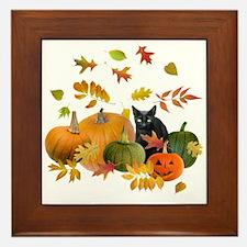 Black Cat Pumpkins Framed Tile