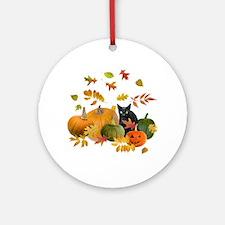Black Cat Pumpkins Ornament (Round)