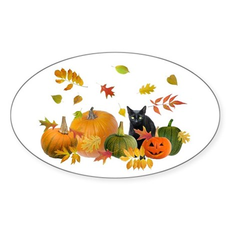 Black Cat Pumpkins Sticker (Oval)