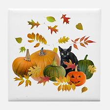 Black Cat Pumpkins Tile Coaster