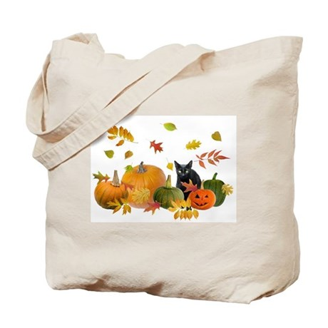 Black Cat Pumpkins Tote Bag