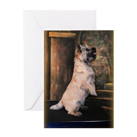 """""""Sitting Pretty"""" Cairn Terrier Greeting Card"""