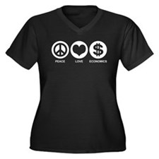 Peace Love Economics Women's Plus Size V-Neck Dark