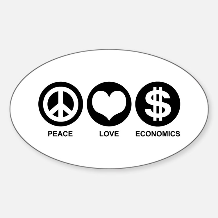 Peace Love Economics Sticker (Oval)