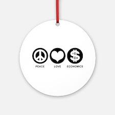 Peace Love Economics Ornament (Round)