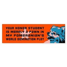 Pomeranian World Domination Bumper Bumper Sticker