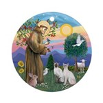 St Francis-Two Siamese cats Ornament (Round)