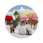 Treat for two Siamese cats Ornament (Round)