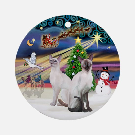 XmasMagic-Two Siamese Cats Ornament (Round)