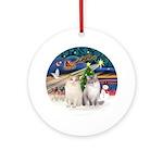 XmasMagic-Two Ragdoll Cats Ornament (Round)