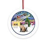 Xmas Magic - Two Siamese cats Ornament (Round)