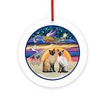 Xmas Star - Two Siamese cats Ornament (Round)