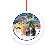 Xmas Magic - Three cats Ornament (Round)