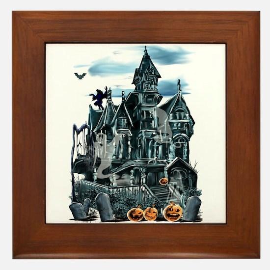 Haunted House Framed Tile