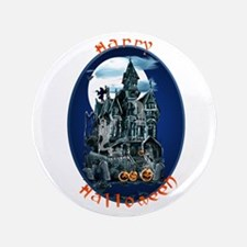 "Haunted House_Happy Halloween 3.5"" Button"