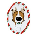 Rough Collie Christmas Ornament (Oval)